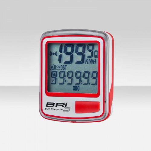 Велокомпьютер модель BRI-5 бело-красны, 5 функций, арт.060043